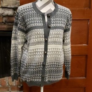 COPY - Alfred Dunner Grey Button Up Cardigan size…